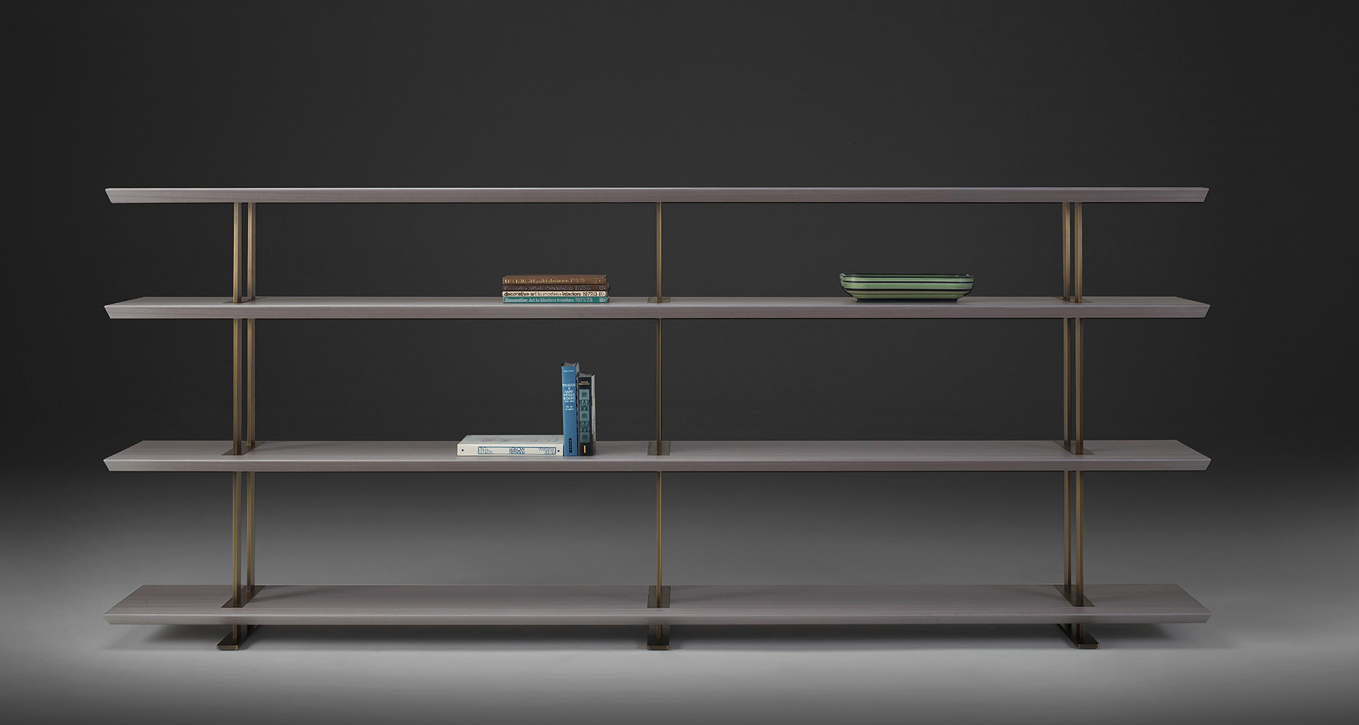 Cora modular bookcase that belongs to Indigo Tales, the 2018 Promemoria collection led by indigo color and presented during the Milan Design Week | Promemoria
