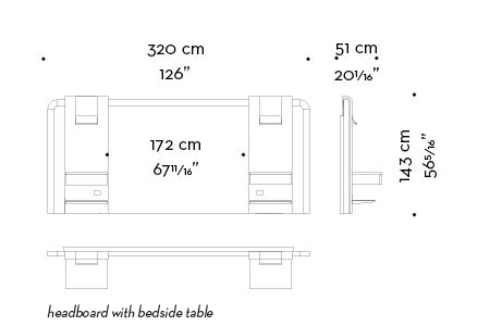 Dimensions of Kalì Nikta, a headboard from the Night Tales collection of Promemoria | Promemoria