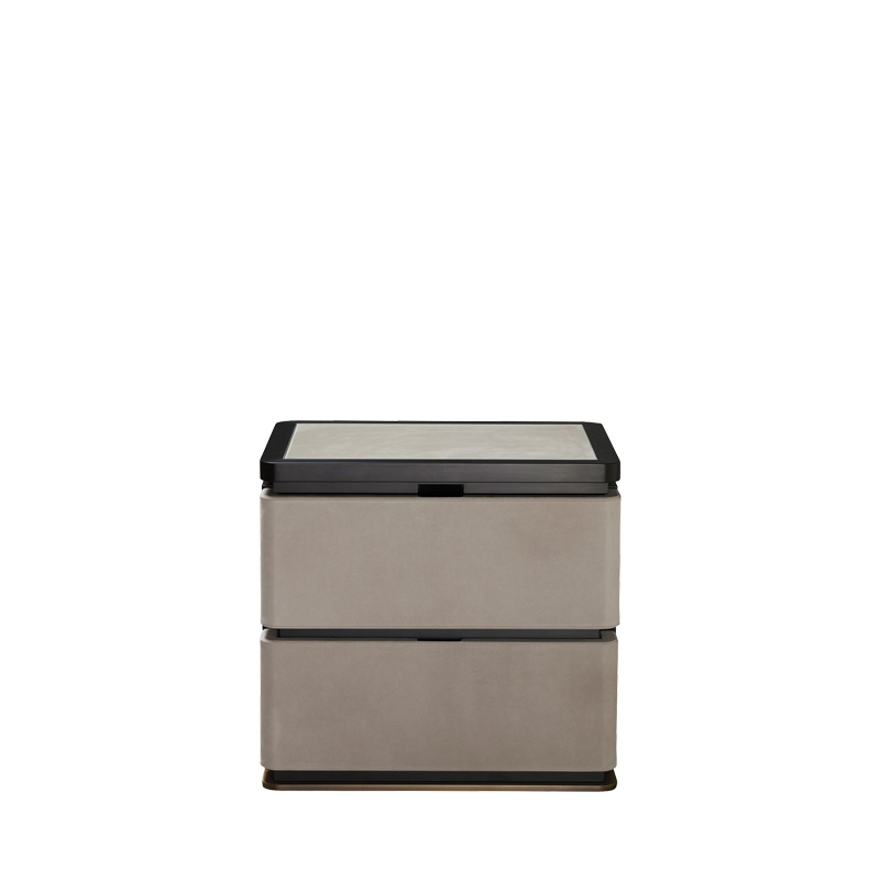Au Bout de la Nuit is a wooden bedside table with drawers, bronze base and top covered in leather with glass, from Promemoria's Amaranthine Tales collection | Promemoria