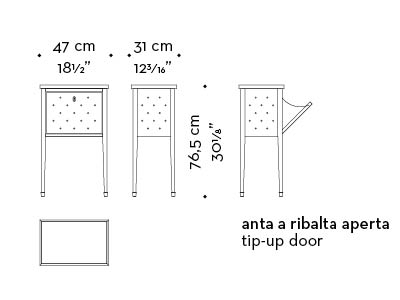 Dimensions of Scrigno, a bedside table covered in fabric with a shelf, from the Promemoria's catalogue | Promemoria