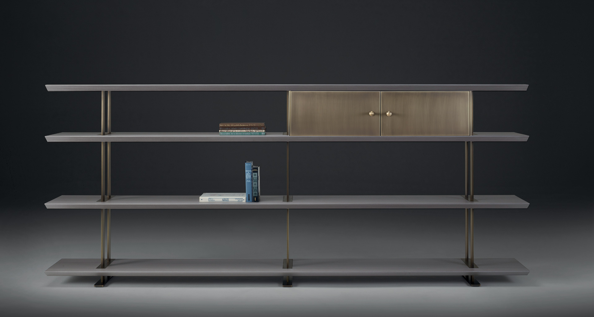 Promemoria Cora Bookcase In Wood And Bronze