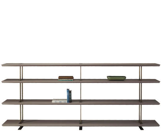 Cora is a wooden modular bookcase with bronze details, from Promemoria's Indigo Tales collection | Promemoria