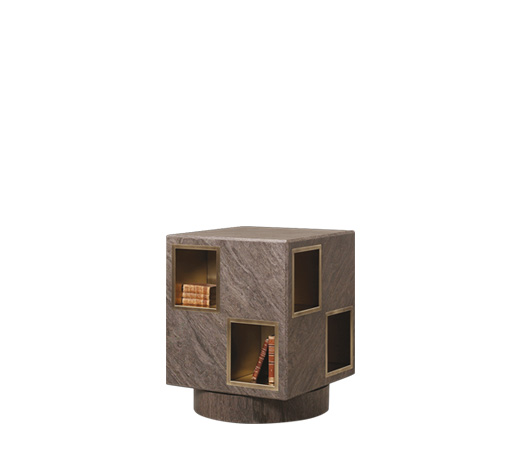 Meryl is a revolving wooden bookcase with bronze compartments from the Promemoria's catalogue | Promemoria