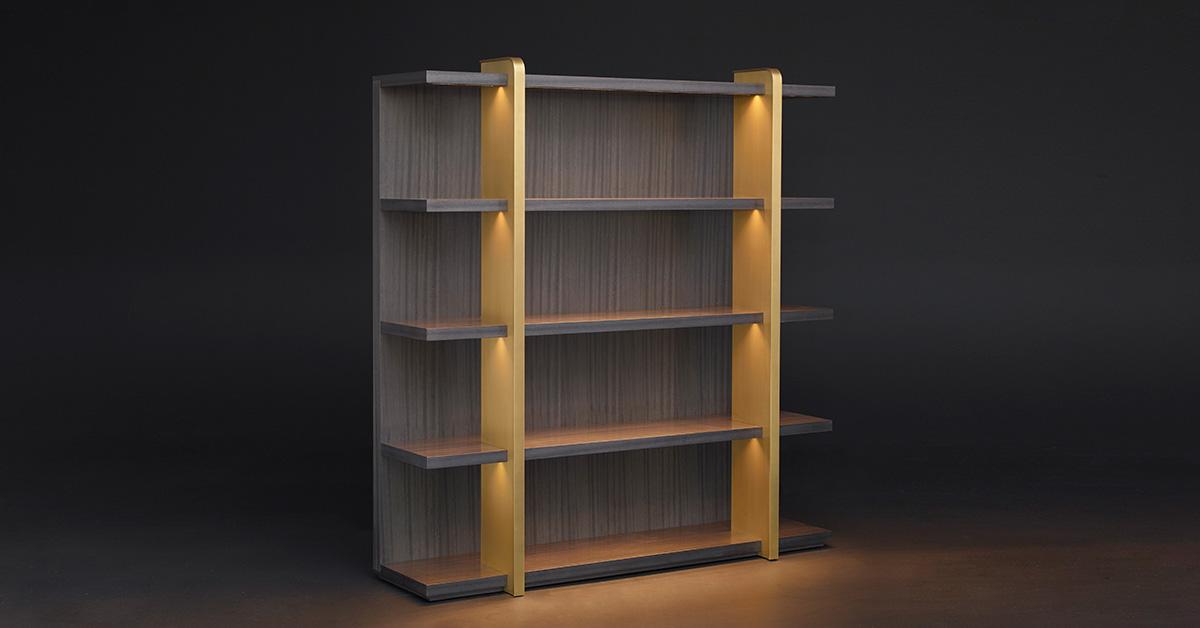 Nisha: Wooden Bookcase with LED Lighting - Promemoria