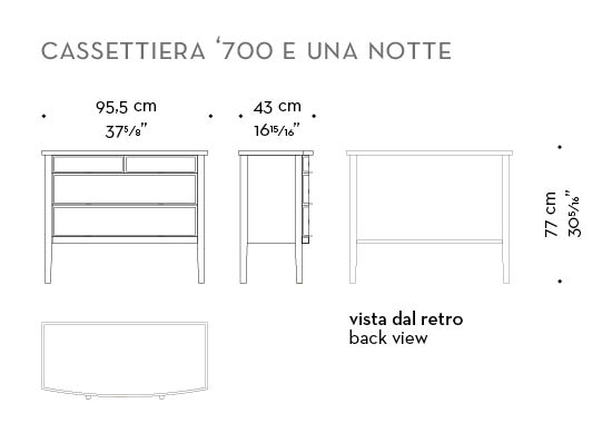 Dimensions of Cassettiera '700, a wooden chest of drawers covered in leather or galuchat with bronze knobs, from Promemoria's catalogue | Promemoria