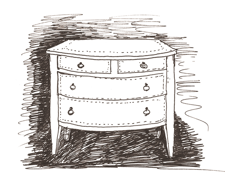 Sketch of Cassettiera '700, a wooden chest of drawers covered in leather or galuchat with bronze knobs, from Promemoria's catalogue | Promemoria