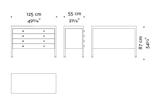 Dimensions of Gong, a bronze chest of drawers covered in fabric or leather from Promemoria's catalogue | Promemoria