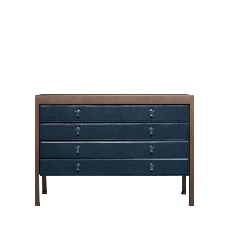 Gong is a bronze chest of drawers covered in fabric or leather from Promemoria's catalogue | Promemoria
