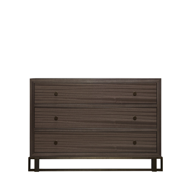 Margot is a wooden chest of drawers with metal details and bronze base and knobs from Promemoria's catalogue | Promemoria