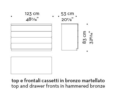 Dimensions of Orione, a wooden chest of drawers covered in leather, from Promemoria's catalogue | Promemoria