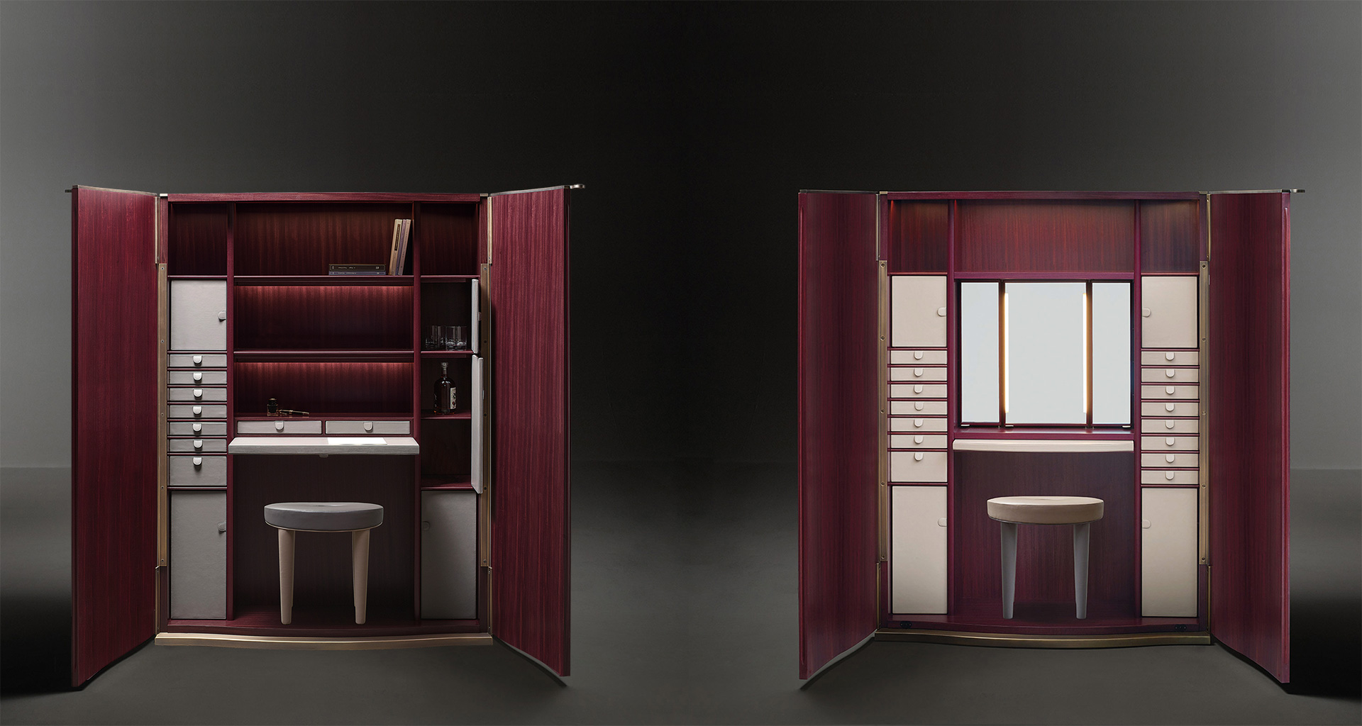 Inside of Alchemico Lui e Lei, two wooden cabinets with bronze details and several internal accessories, from Promemoria's collection Amaranthine Tales | Promemoria
