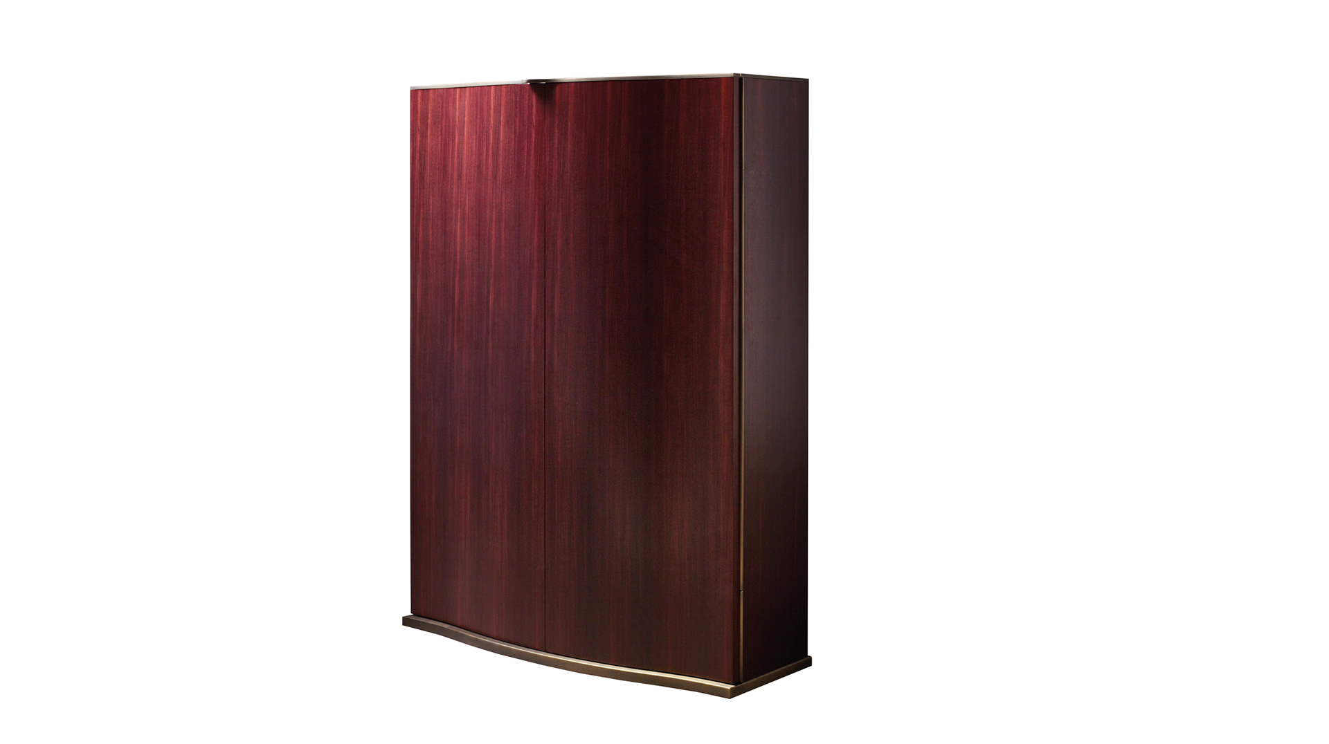 Alchemico Lui e Lei are two wooden cabinets with bronze details and several internal accessories, from Promemoria's collection Amaranthine Tales | Promemoria