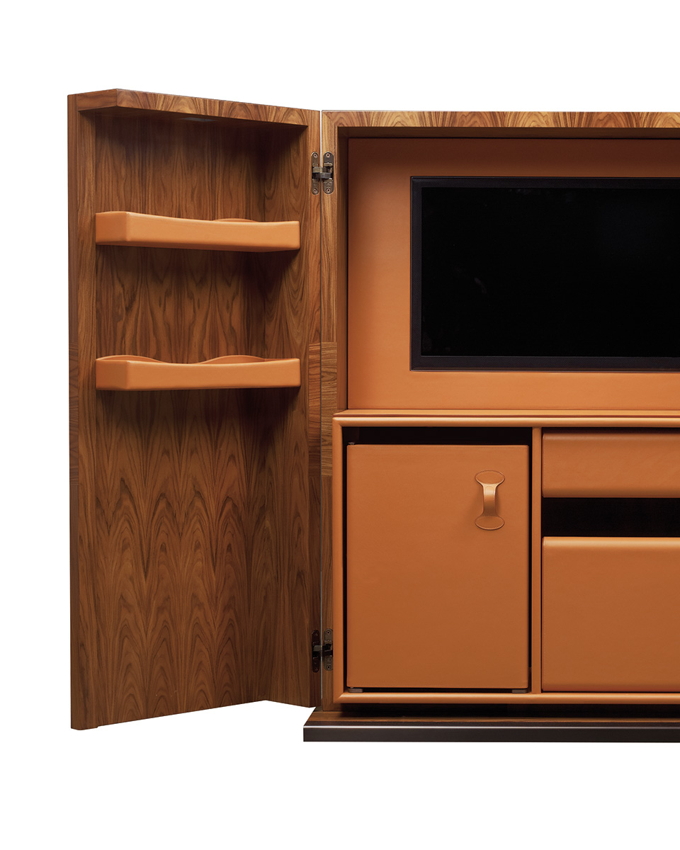 Inside of Bacco, a wooden cabinet-bar with several accessories inside and bronze base, profiles and handles, from Promemoria's catalogue | Promemoria