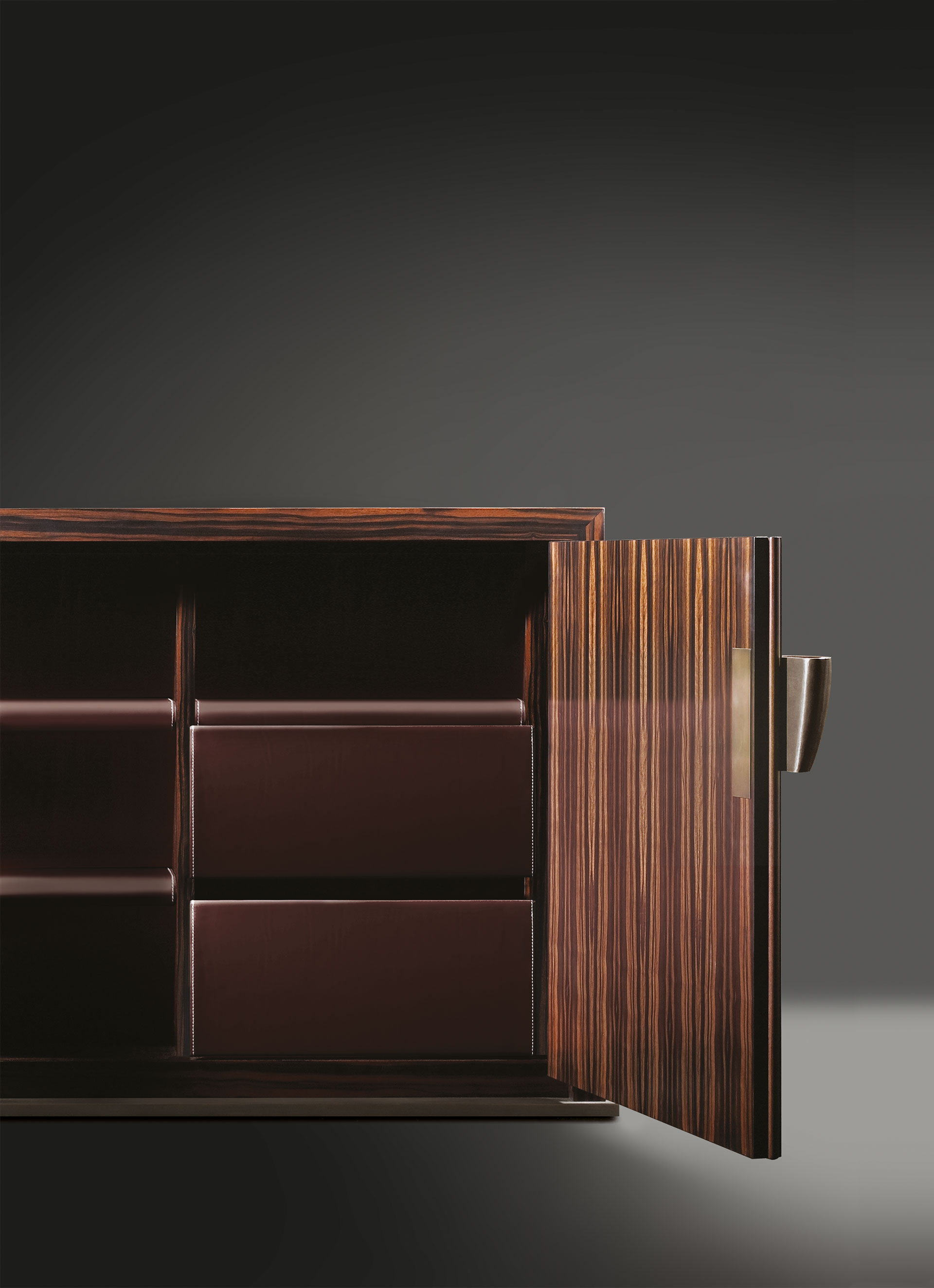 Inside of Bonaventura, a wooden cabinet with bronze base and handle, from Promemoria's catalogue | Promemoria