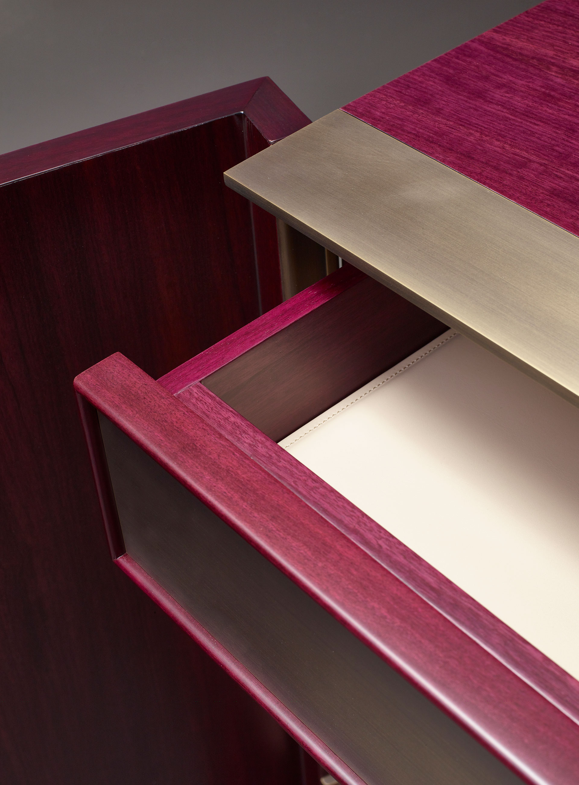 Drawers' detail of La Belle Aurore, a wooden cabnet with bronze details, from Promemoria's catalogue | Promemoria