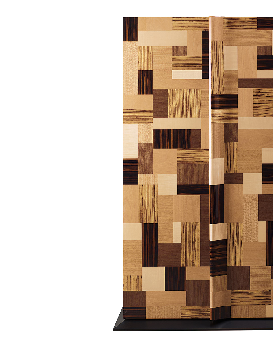 Oleandra is a wooden cabinet that can have a geometric patchwork design with light and dark woods interweaved and bronze details from Promemoria's catalogue | Promemoria