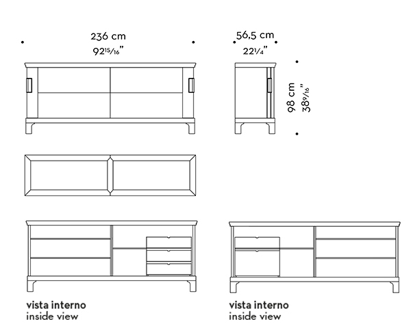 Dimensions of Oolong, a low wooden cabinet with sliding doors, leather shelves and drawers fronts and bronze handles from Promemoria's catalogue | Promemoria