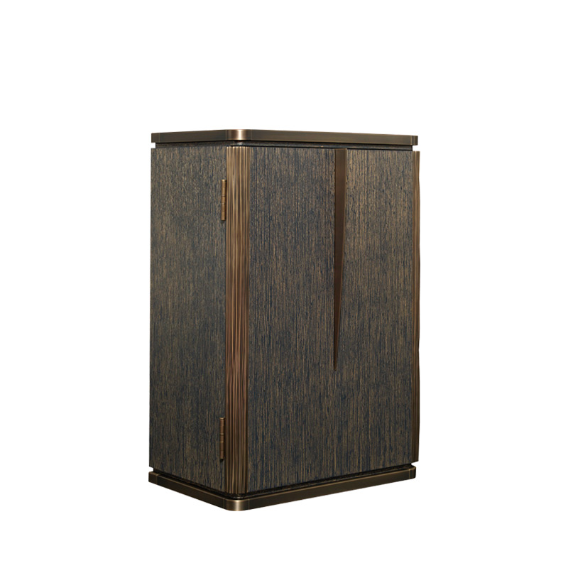 Soho is a cabinet in gold brushed stained blue oak with bronze details, from Promemoria's The London Collection | Promemoria