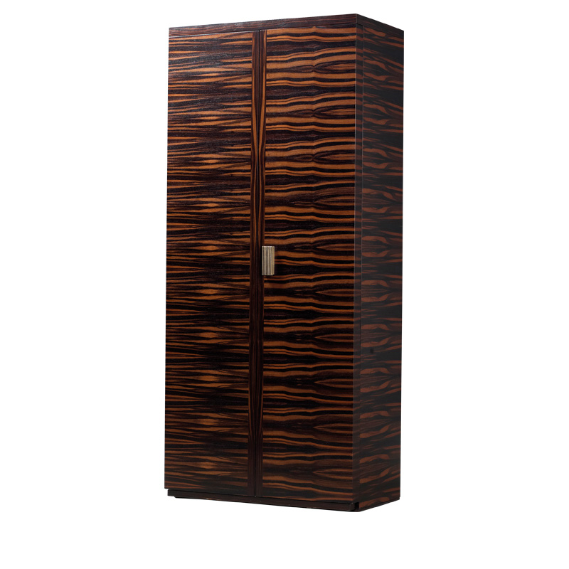 Stanley is a wooden cabinet with a bronze handle and internal modules covered in leather from Promemoria's catalogue | Promemoria