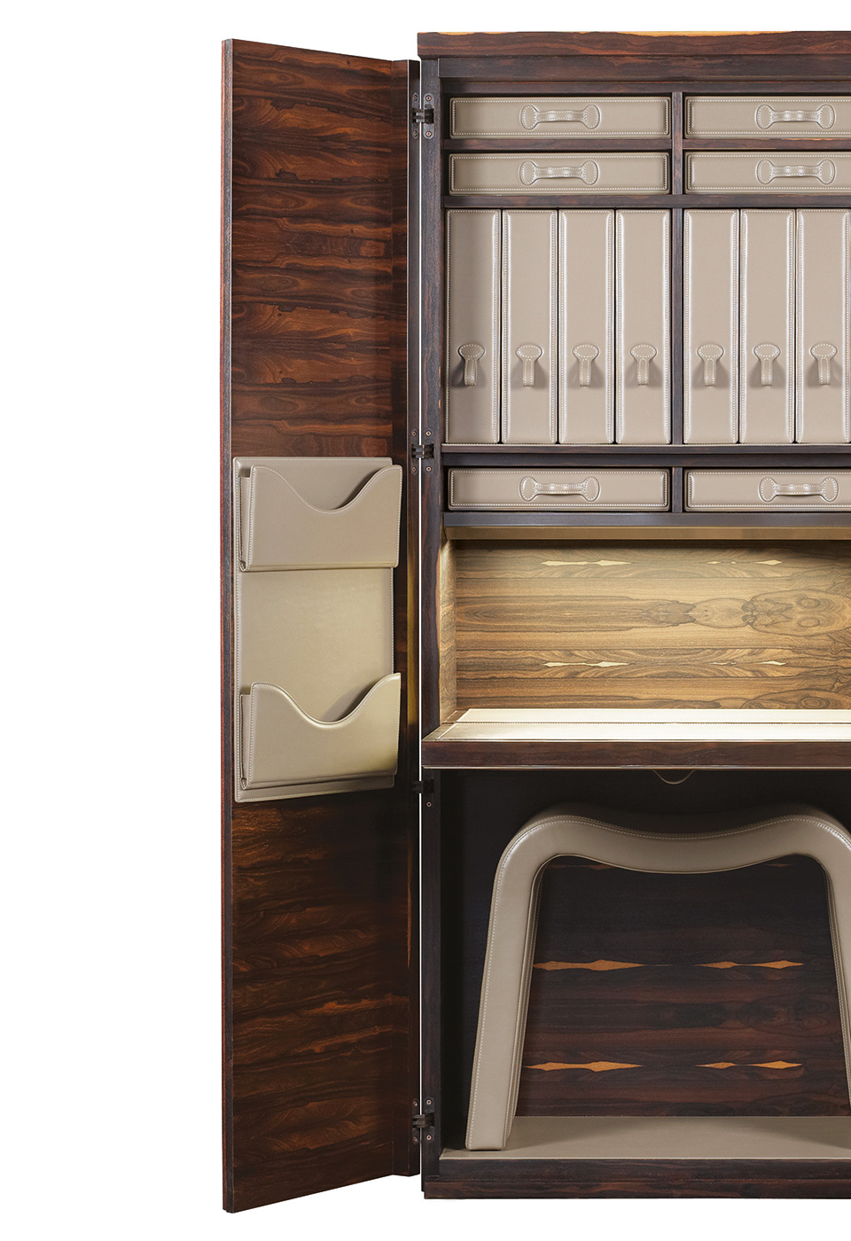 Leather inside modules of Stanley, a wooden cabinet with a bronze handle from Promemoria's catalogue | Promemoria