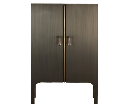 Tom Bombadil is a wooden cabinet with bronze profiles and a Murano glass handle, from Promemoria's catalogue | Promemoria