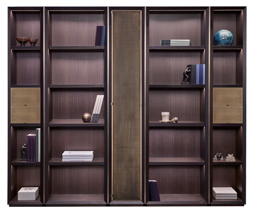Nightwood is a wooden modular bookcase with bronze details, from Promemoria's Night Tales collection | Promemoria