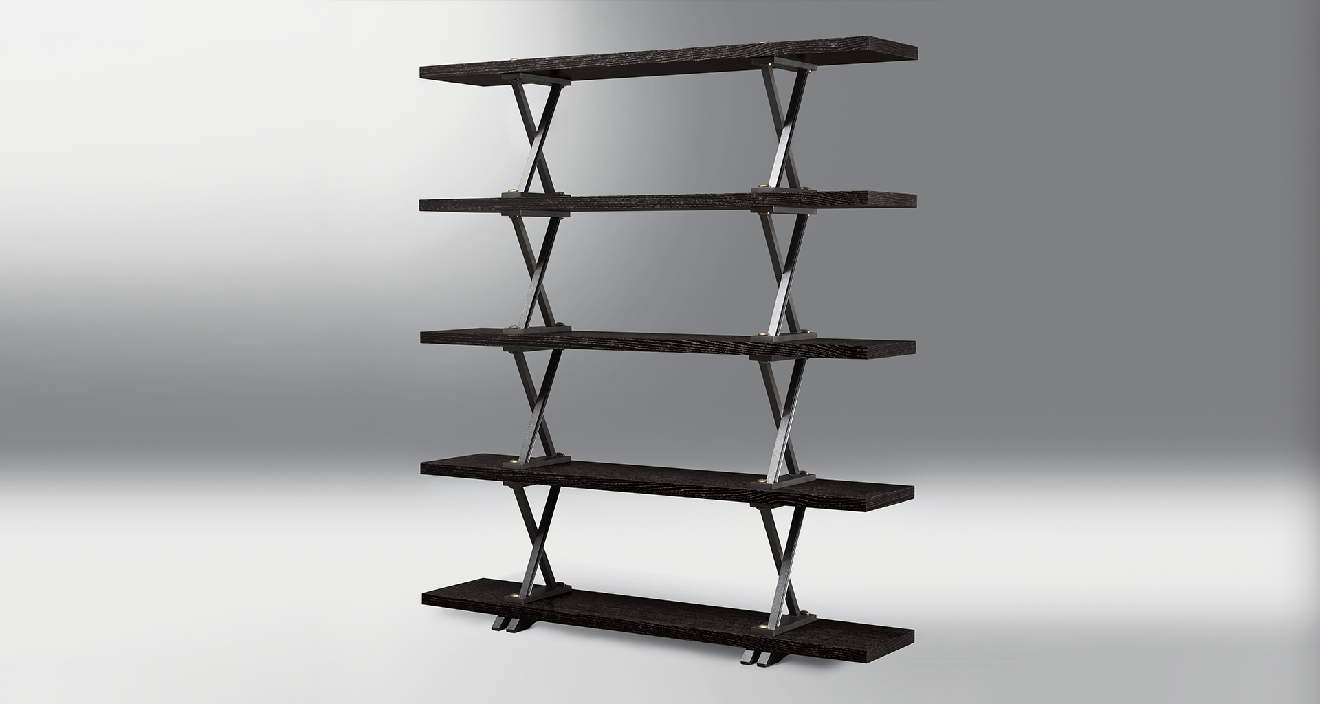 X Libreria is a wooden modular bookcase with bronze supports shaped like and X, from Promemoria's catalogue | Promemoria