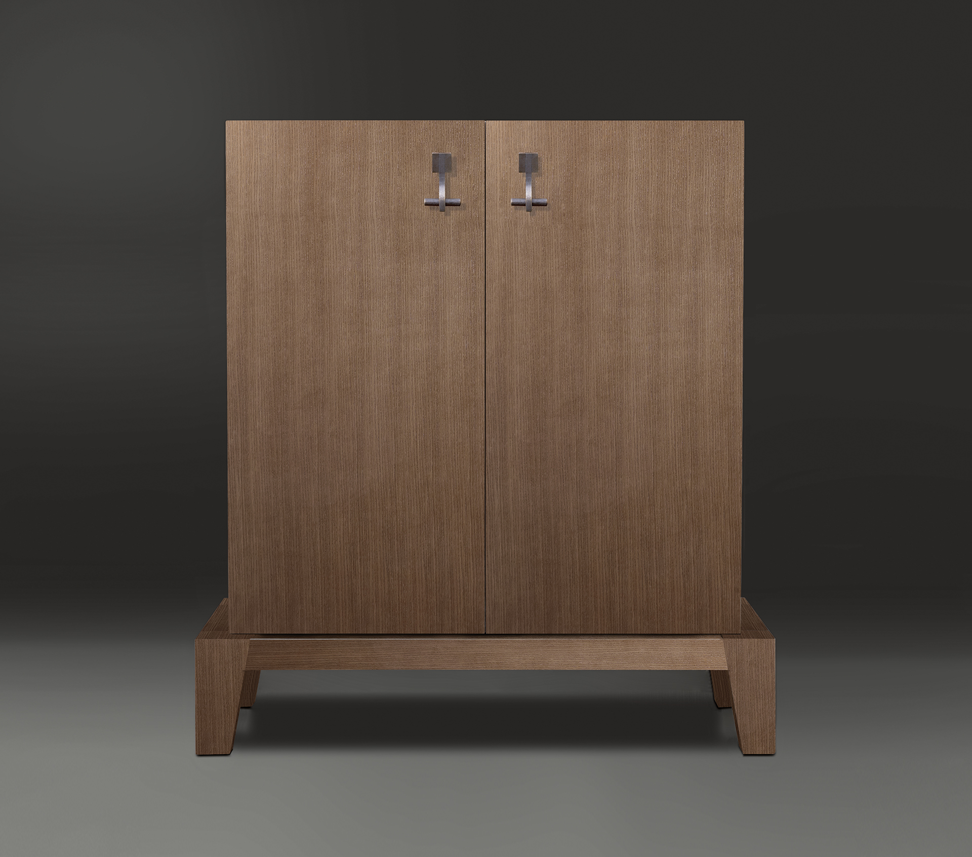 Detail of Amarcord in light grey mahogany with doors inlaid in amaranth wood, light grey mahogany and teak.