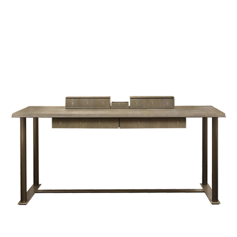 Galadriel is an essential writing desk with bronze structure and wooden tops and drawers from the Promemoria's catalogue | Promemoria