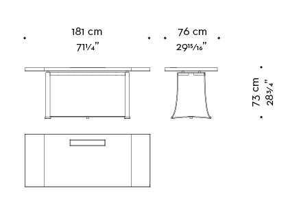 Dimensions of Victor, a table with bronze structure from the Promemoria's catalogue | Promemoria