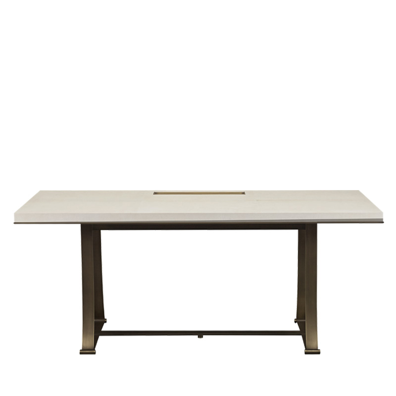 Victor is a table with bronze structure and a writing desk in bronze and morado wood from the Promemoria's catalogue | Promemoria