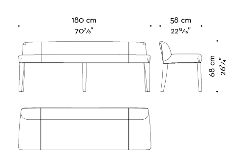 Dimensions of Isotta, a wooden bench with fabric or leather seat and back, from Promemoria's catalogue | Promemoria