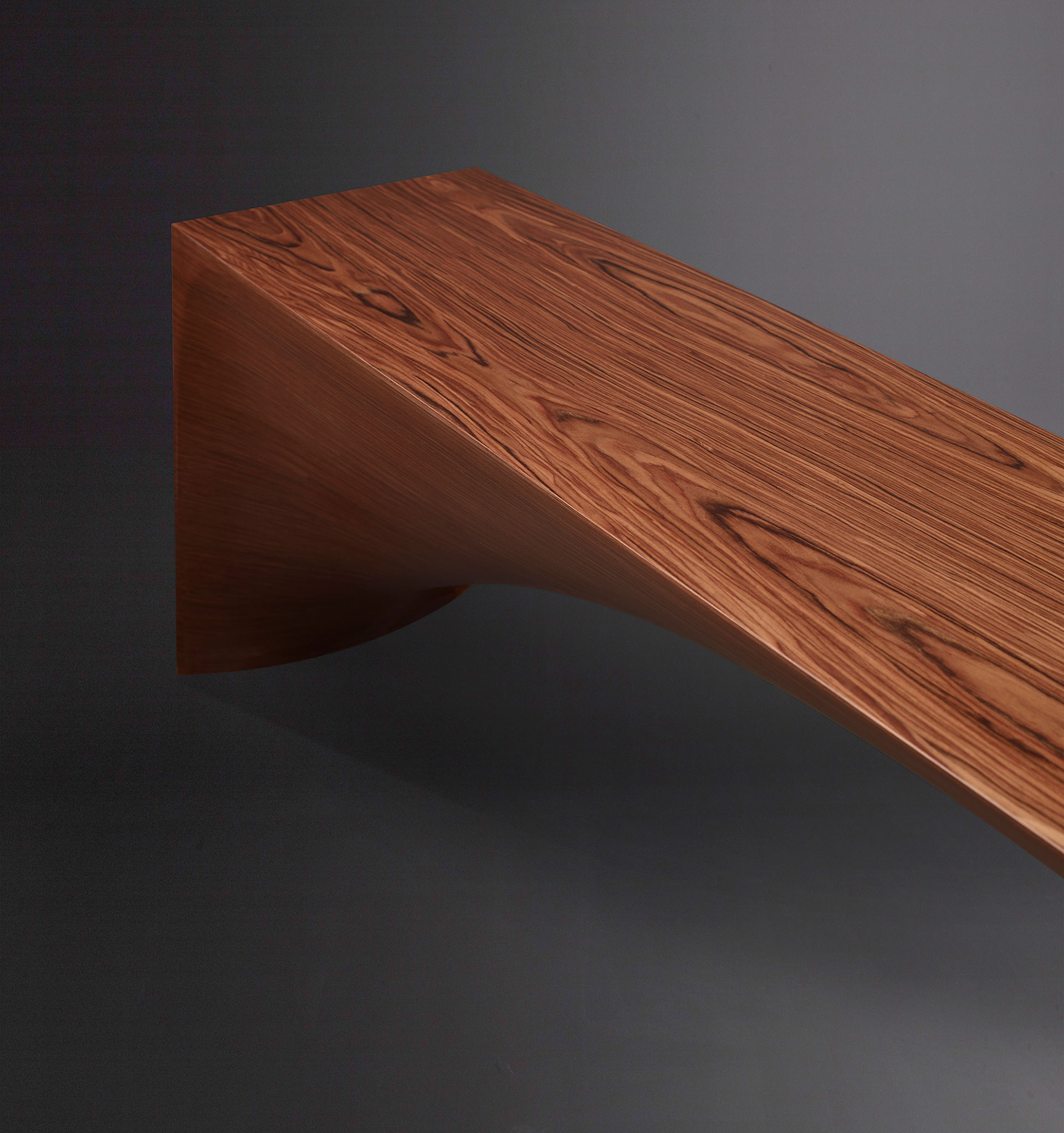 Detail of Kumo, a minimalist wooden bench, from Promemoria's Capsule Collection by Bruno Moinard | Promemoria