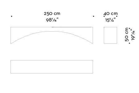 Dimensions of Kumo, a minimalist wooden bench, from Promemoria's Capsule Collection by Bruno Moinard | Promemoria