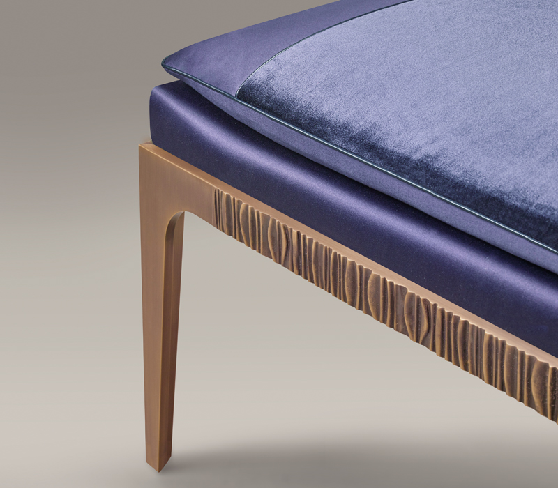 Detail of Montagu, a bronze bench with fabric and leather seat, from Promemoria's The London Collection | Promemoria