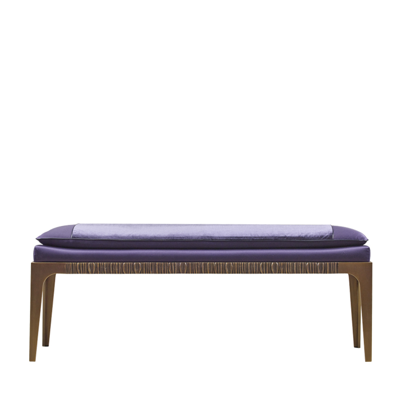 Montagu is a bronze bench with fabric and leather seat, from Promemoria's The London Collection | Promemoria