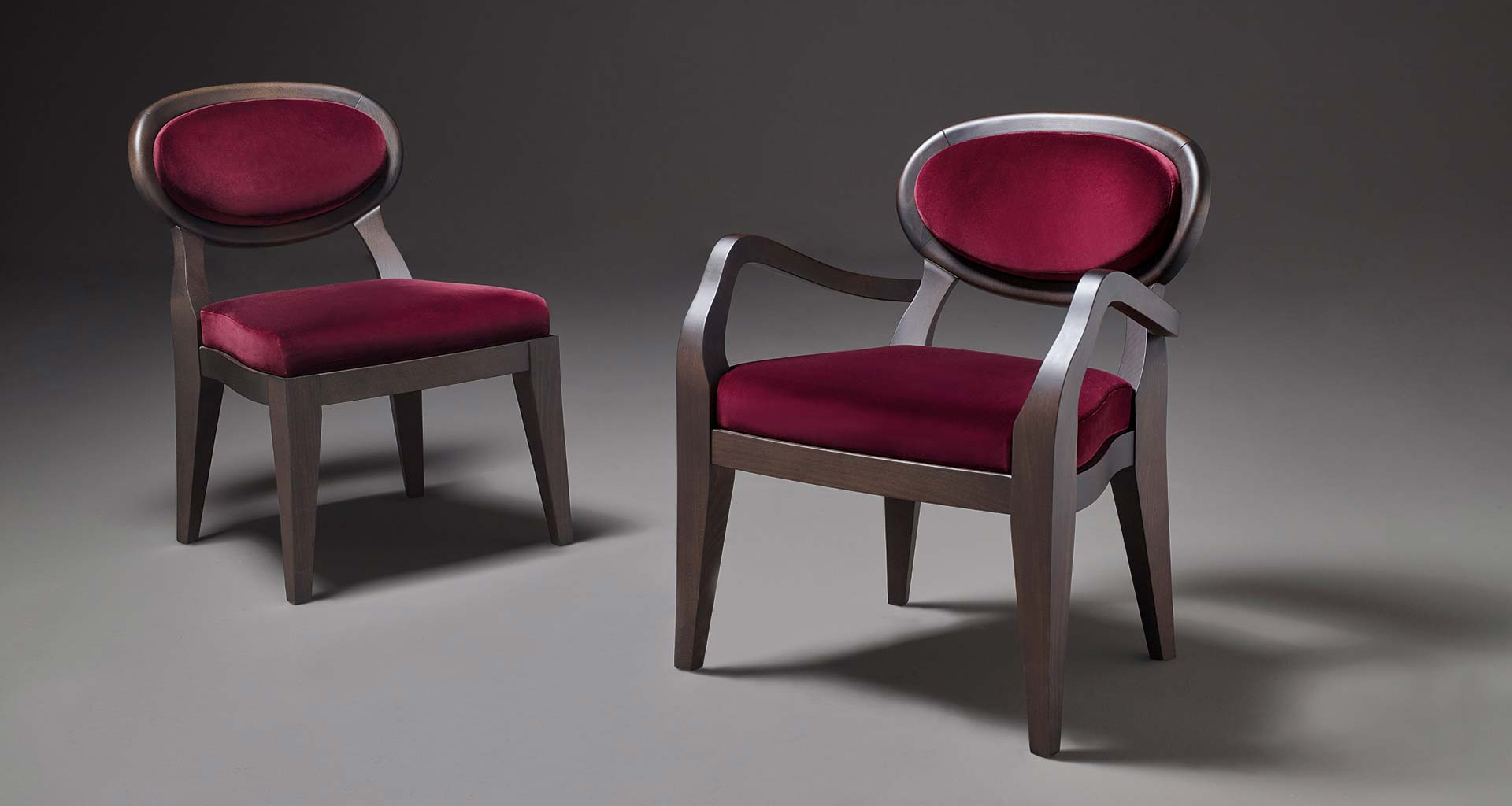 Anima is a wooden and fabric or leather dining chair available with different combinations of fabrics and colors, from Promemoria's catalogue | Promemoria