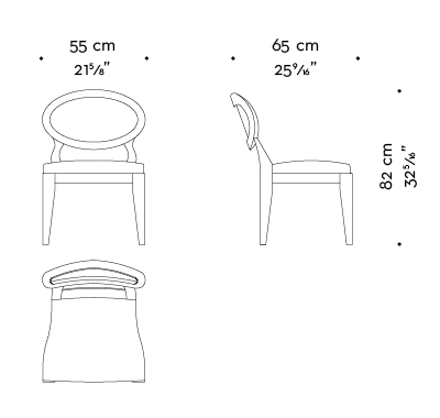 Dimensions of Anima without armrests, a wooden and fabric or leather dining chair available with different combinations of fabrics and colors, from Promemoria's catalogue | Promemoria