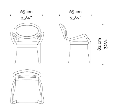 Dimensions of Anima with armrests, a wooden and fabric or leather dining chair available with different combinations of fabrics and colors, from Promemoria's catalogue | Promemoria