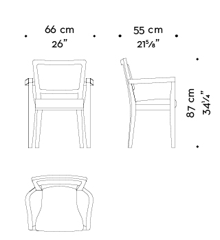 Dimensions of Bistrot, a wooden dining chair, with armrests and fabric or leather seat and back, from Promemoria's catalogue | Promemoria