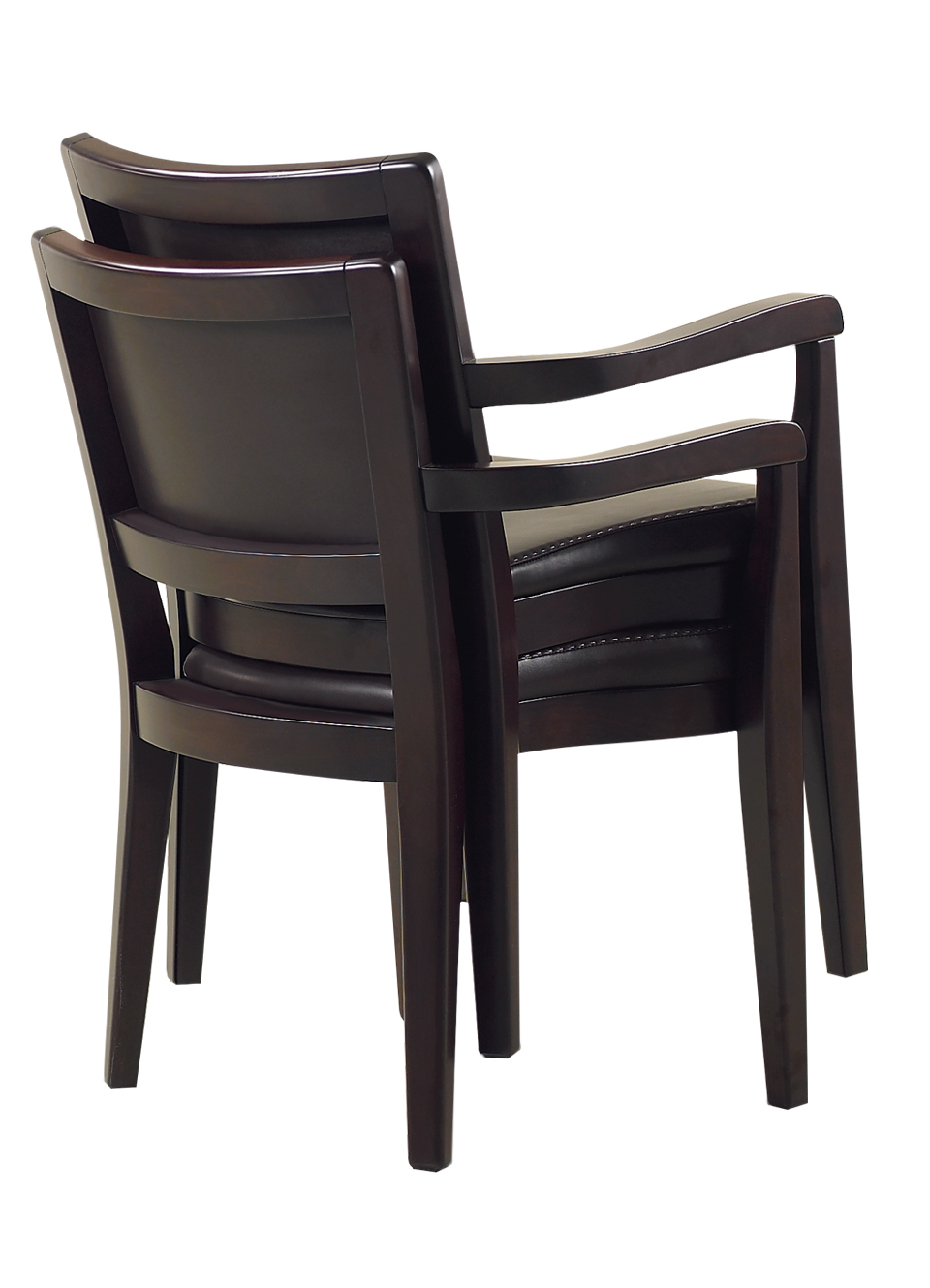 Stacked Bistrot chairs, wooden dining chairs, with armrests and fabric or leather seat and back, from Promemoria's catalogue | Promemoria