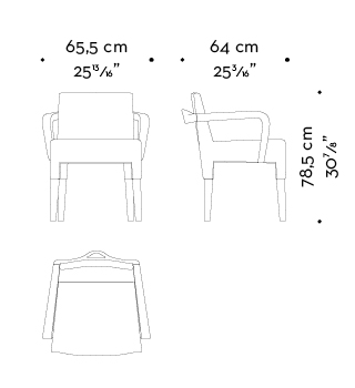 Dimensions of Brigitta Short, a wooden dining chair covered in fabric or leather, with a handle on the backrest, from Promemoria's catalogue | Promemoria