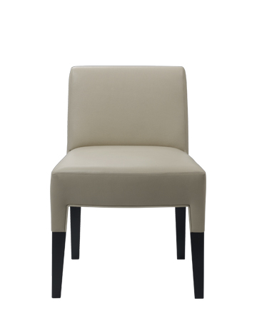 Brigitta Short is a wooden dining chair covered in fabric or leather, with a handle on the backrest, from Promemoria's catalogue | Promemoria