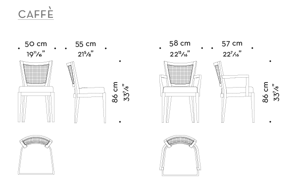 Dimensions of Caffè, a wooden dining chair, with straw backrest and fabric or leather seat, from Promemoria's catalogue | Promemoria