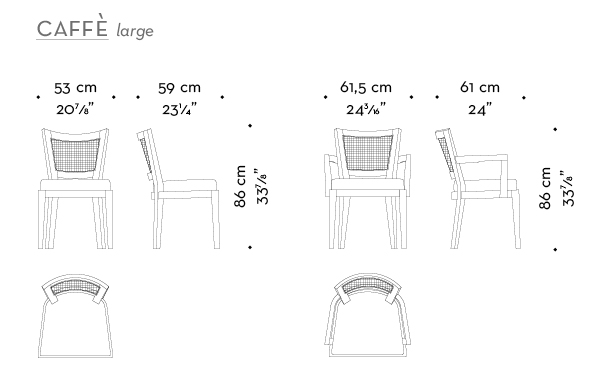 Dimensions of Caffè Large, a wooden dining chair, with straw backrest and fabric or leather seat, from Promemoria's catalogue | Promemoria
