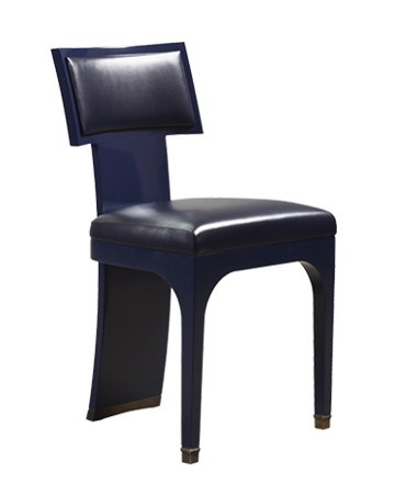 DC Chair is a wooden dining chair with leather seat and back and bronze feet, from Promemoria's The London Collection | Promemoria