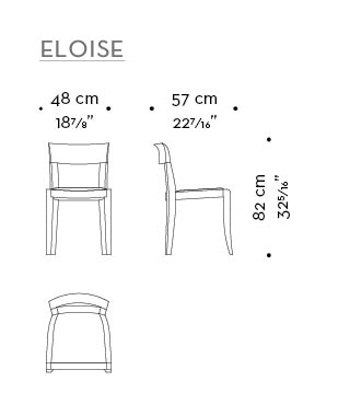 Dimensions of high-backed without arms Eloise, a wooden dining chair with leather seat from Promemoria's catalogue | Promemoria
