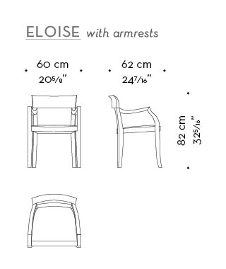 Dimensions of high-backed witht arms Eloise, a wooden dining chair with leather seat from Promemoria's catalogue | Promemoria