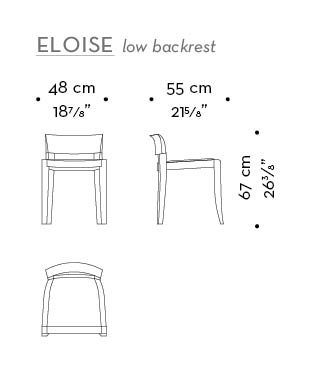 Dimensions of low-backed without arms Eloise, a wooden dining chair with leather seat from Promemoria's catalogue | Promemoria
