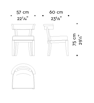Dimensions of Irene, a wooden dining chair with a semi-circle backrest, from Promemoria's catalogue | Promemoria